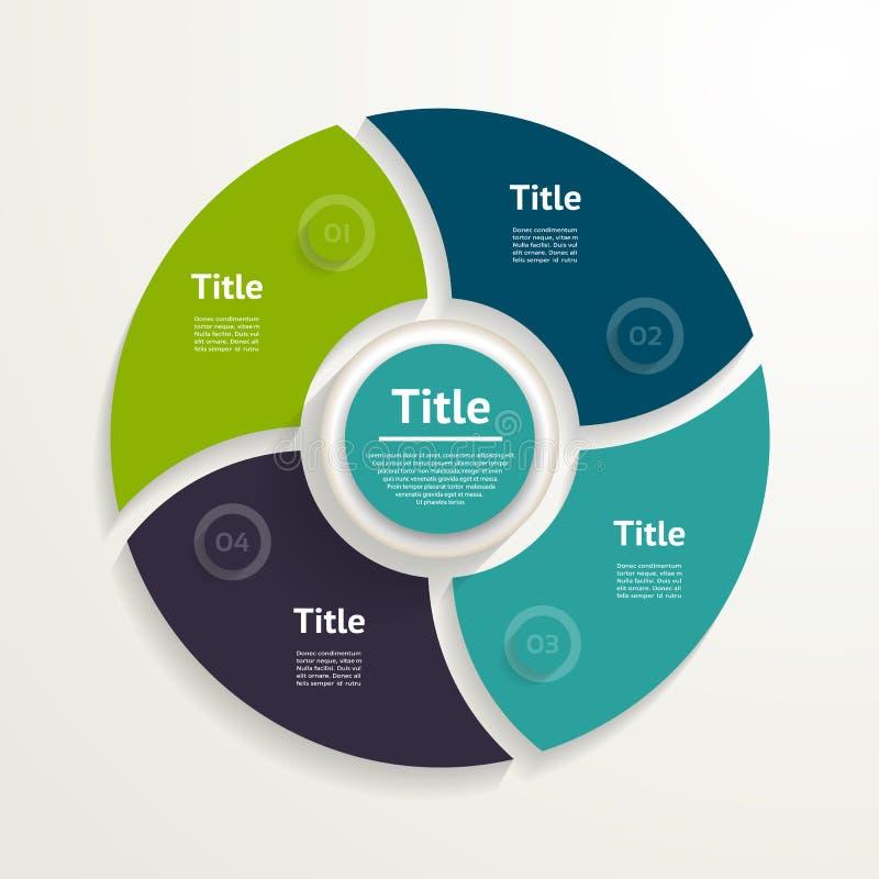 Vector infographic cirkel Malplaatje voor diagram, grafiek, presenta stock illustratie