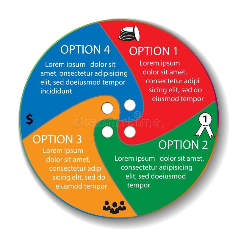 Vector infographic cirkel Malplaatje voor diagram, grafiek, presentatie en grafiek Bedrijfsconceptenwi royalty-vrije illustratie