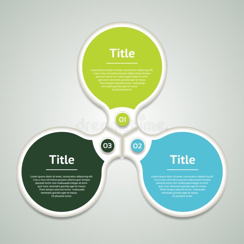 Vector infographic cirkel Malplaatje voor diagram, grafiek, presentatie en grafiek Bedrijfsconcept met drie opties, delen, stappe stock illustratie
