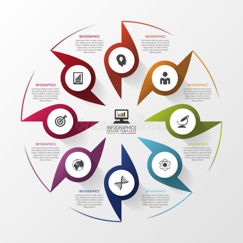 Vector infographic cirkel Malplaatje voor diagram, grafiek, presentatie en grafiek Bedrijfsconcept met 8 opties stock illustratie