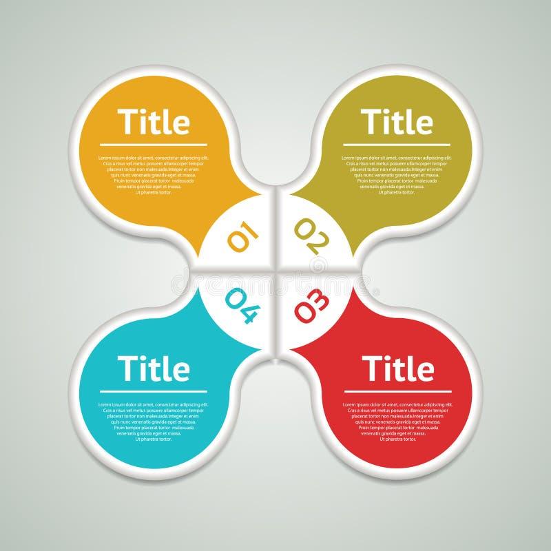 Vector infographic cirkel Malplaatje voor diagram, grafiek, presentatie en grafiek Bedrijfsconcept met vier opties, delen, stappe royalty-vrije illustratie