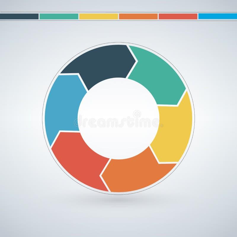 Vector infographic cirkel Malplaatje voor grafiek, het cirkelen diagram, ronde grafiek, werkschemalay-out, aantalopties, Webontwe vector illustratie