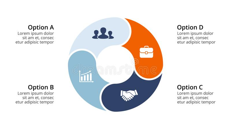 Vector infographic cirkelpijlen, cyclusdiagram, geometrische grafiek, presentatiegrafiek Bedrijfsconcept met 4 opties stock illustratie