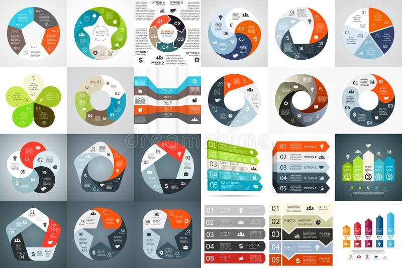 Vector infographic cirkelpijlen, diagram, grafiek, presentatie, grafiek Conjunctuurcyclusconcept met 5 opties, delen vector illustratie