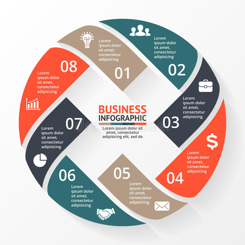 Vector infographic cirkelpijlen X, diagram, grafiek, presentatie, grafiek Conjunctuurcyclusconcept met 8 opties, delen royalty-vrije illustratie