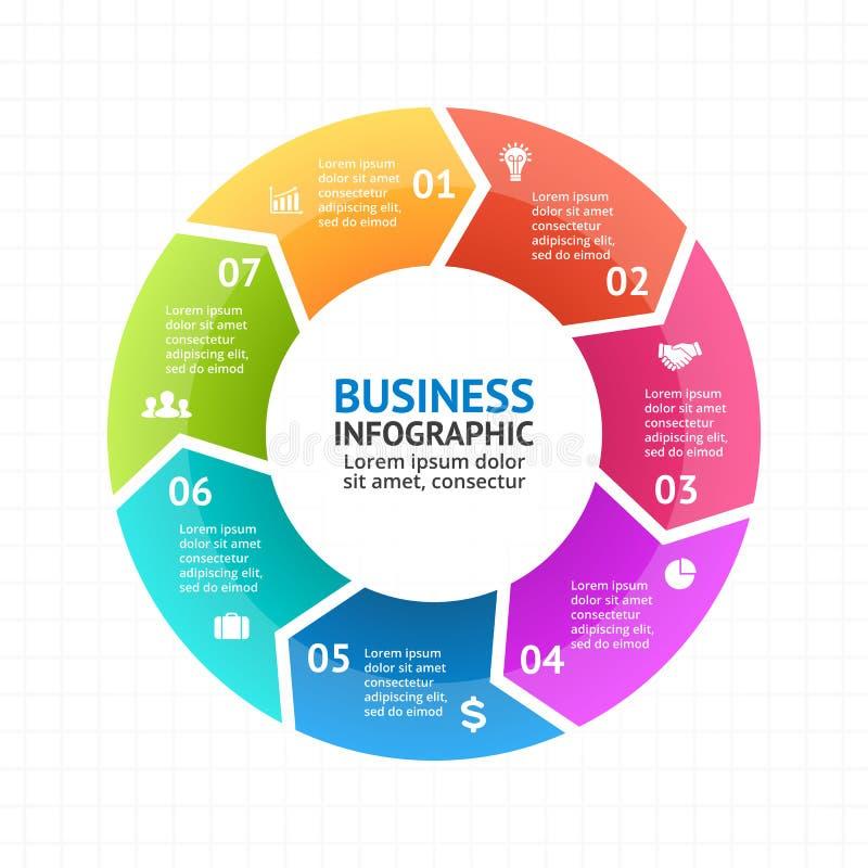 Vector infographic cirkelpijlen, diagram, grafiek, presentatie, grafiek Conjunctuurcyclusconcept met 7 opties, delen royalty-vrije illustratie
