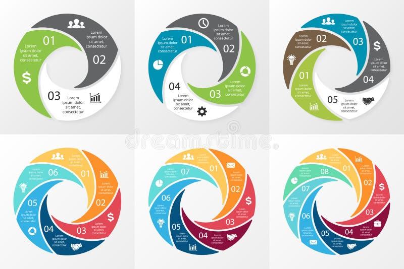 Vector infographic cirkelwerveling Malplaatje voor vector illustratie