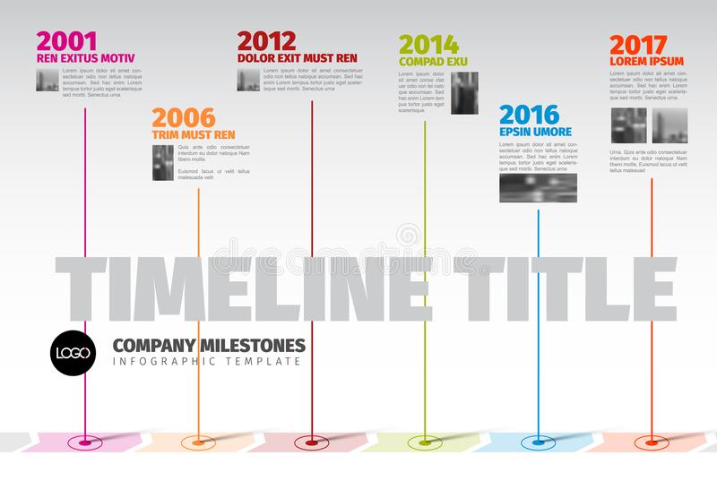 Vector Infographic Company het Malplaatje van de Mijlpalenchronologie vector illustratie