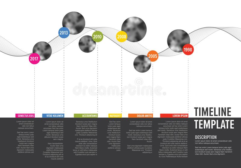 Vector Infographic Company Milestones Timeline. Template with circle photo placeholders on colorful line - horizontal version royalty free illustration