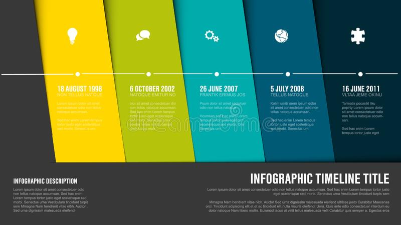 Vector Infographic Company Milestones Timeline Template. With hot diagonal stripes - green version stock illustration