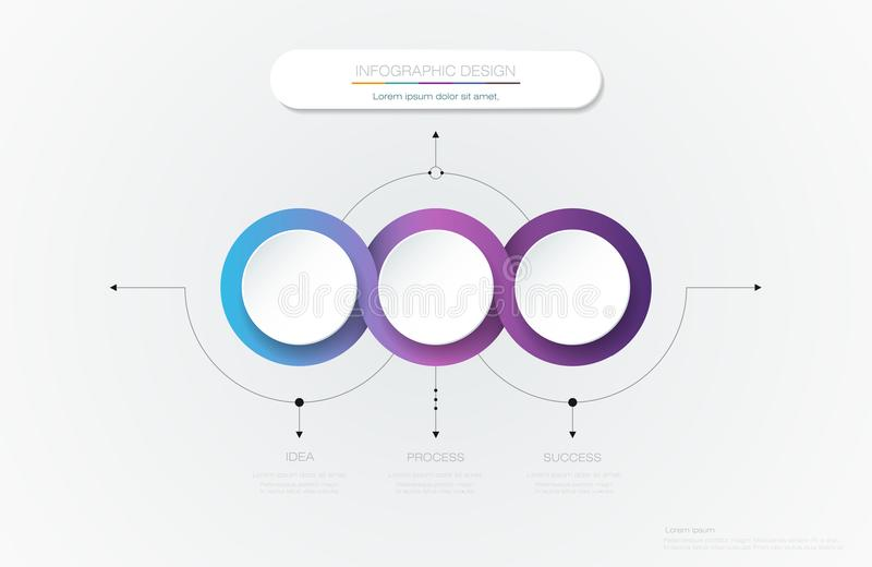 Vector Infographic 3d circle label template design. Infograph with 3 number options or steps. Infographic element for layout, process diagram, parts, chart stock illustration