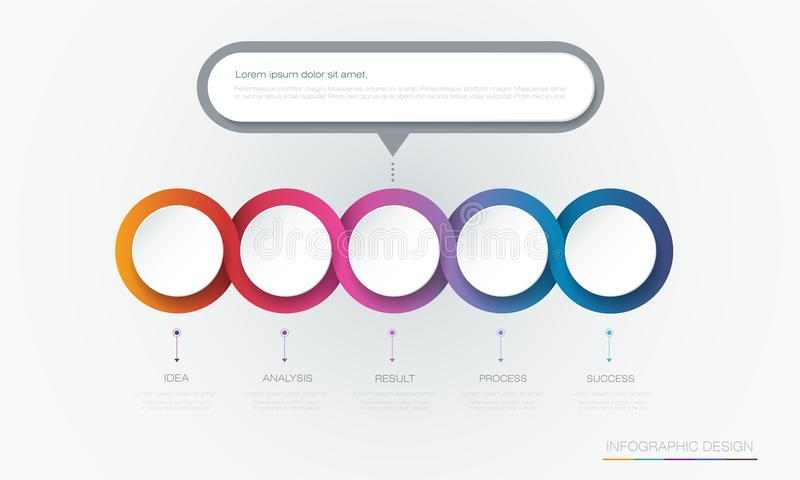 Vector Infographic 3d circle label template design.Infograph with 5 number options or steps. stock illustration