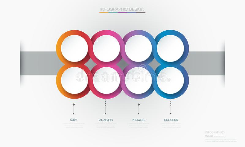 Vector Infographic 3d circle label template design.Infograph with 8 number options or steps. Infographic element for layout, process diagram, parts, chart royalty free illustration