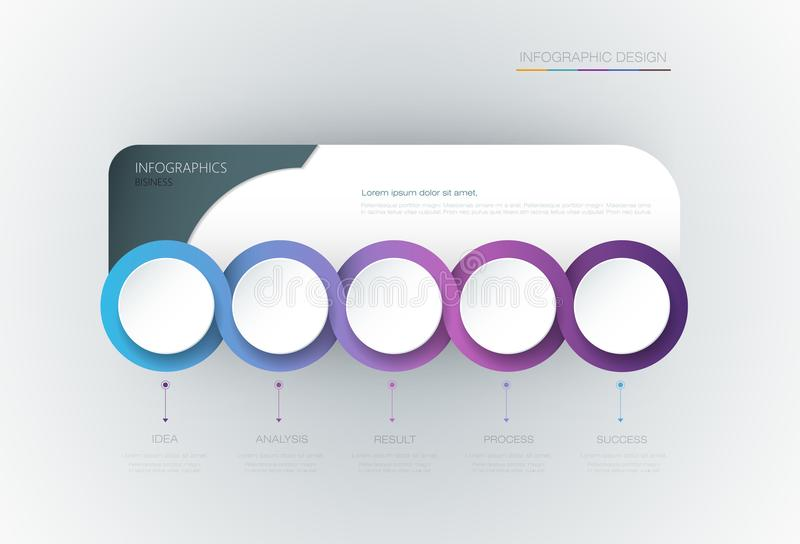 Vector Infographic 3d circle label template design. Infograph with 5 number options or steps. Infographic element for layout, process diagram, parts, chart stock illustration