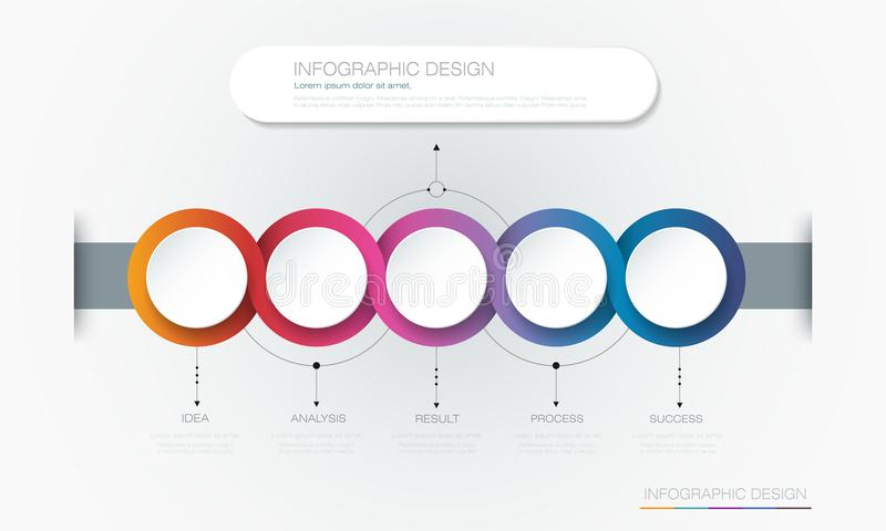 Vector Infographic 3d circle label template design. Infograph with 5 number options or steps. Infographic element for layout, process diagram, parts, chart royalty free illustration