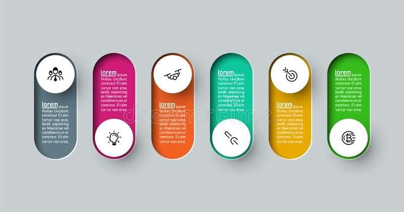 Vector Infographic 3d long circle label. stock illustration