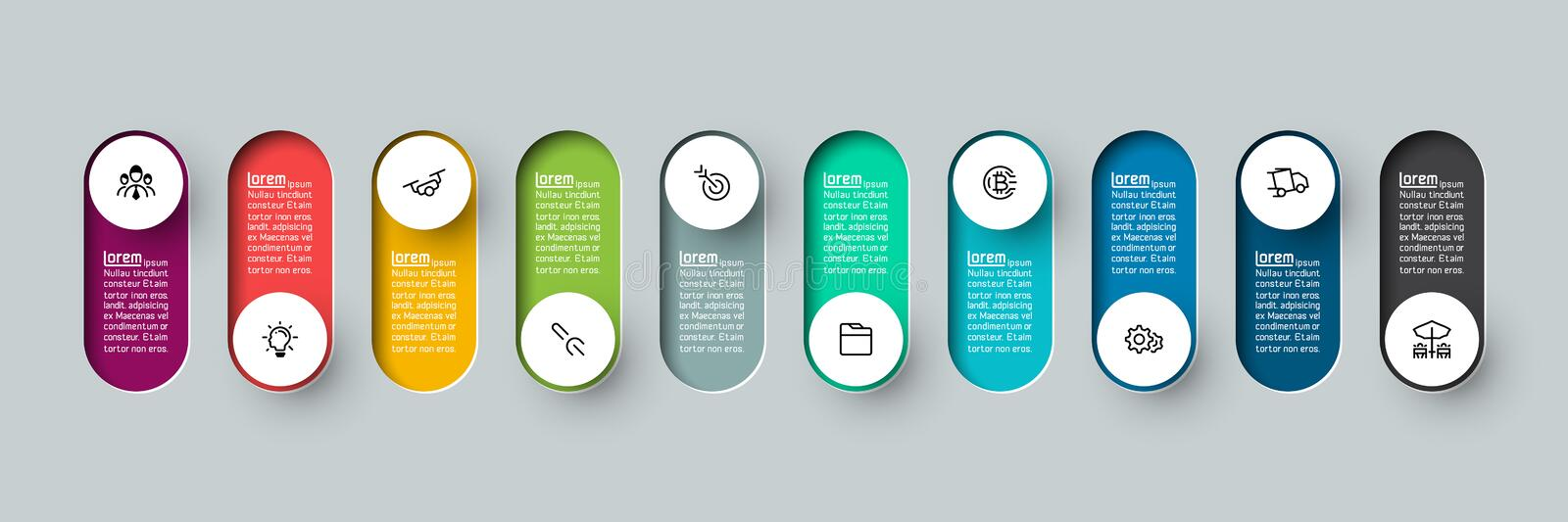 Vector Infographic 3d long circle label. vector illustration