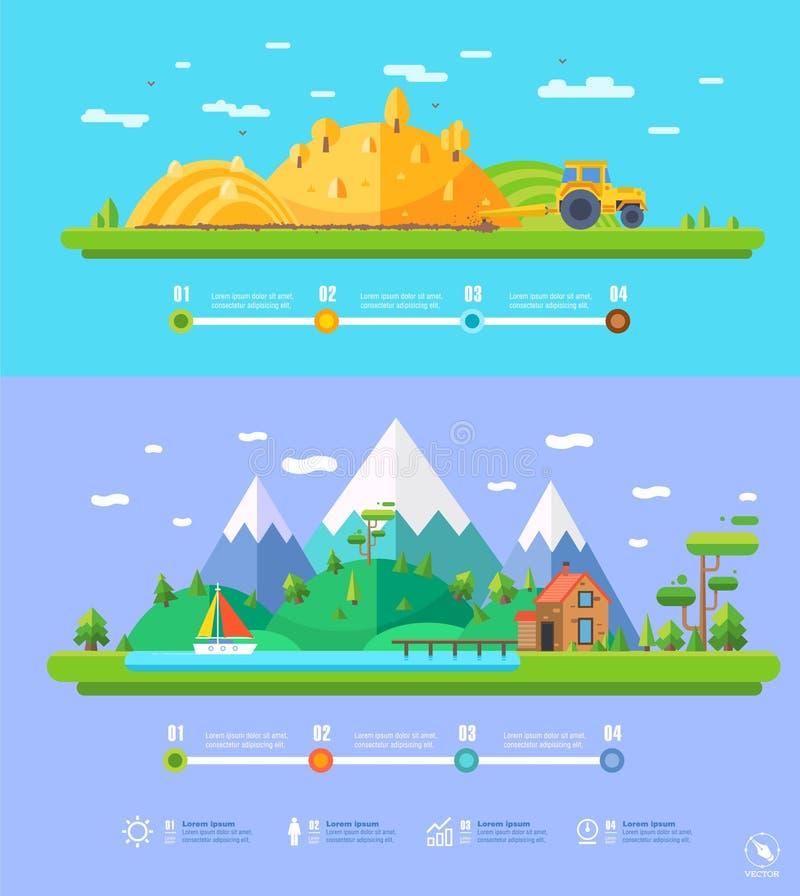 Vector infographic de elementen vlak ontwerp van de ecologieillustratie stock illustratie