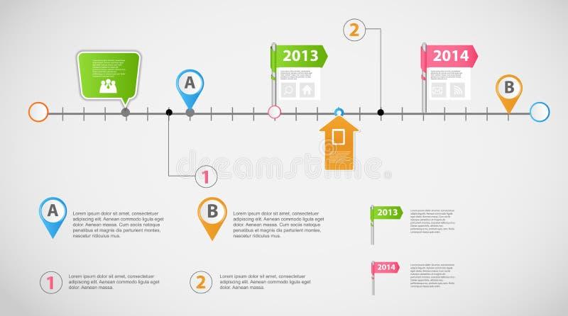 Vector infographic de la plantilla del negocio de la cronología ilustración del vector