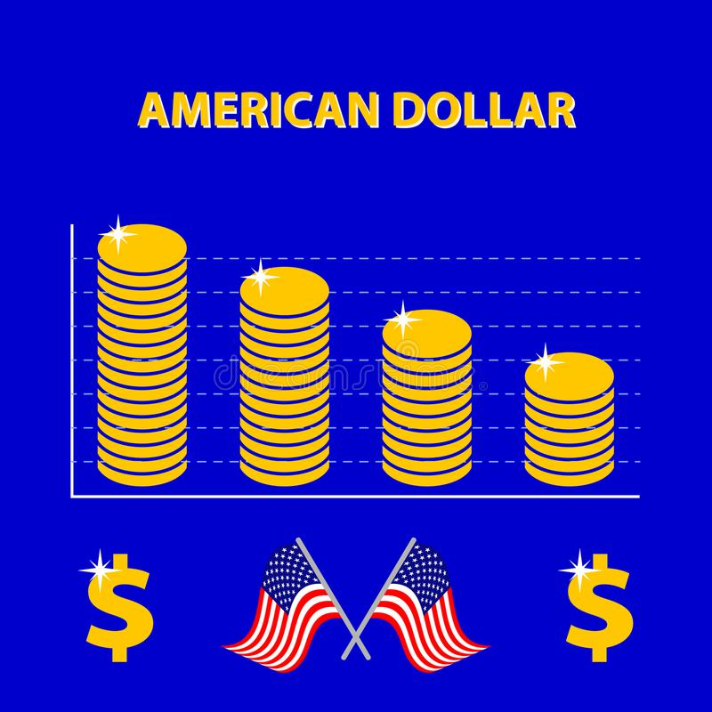 Vector infographic of decline US exchange rate - info graph stock illustration