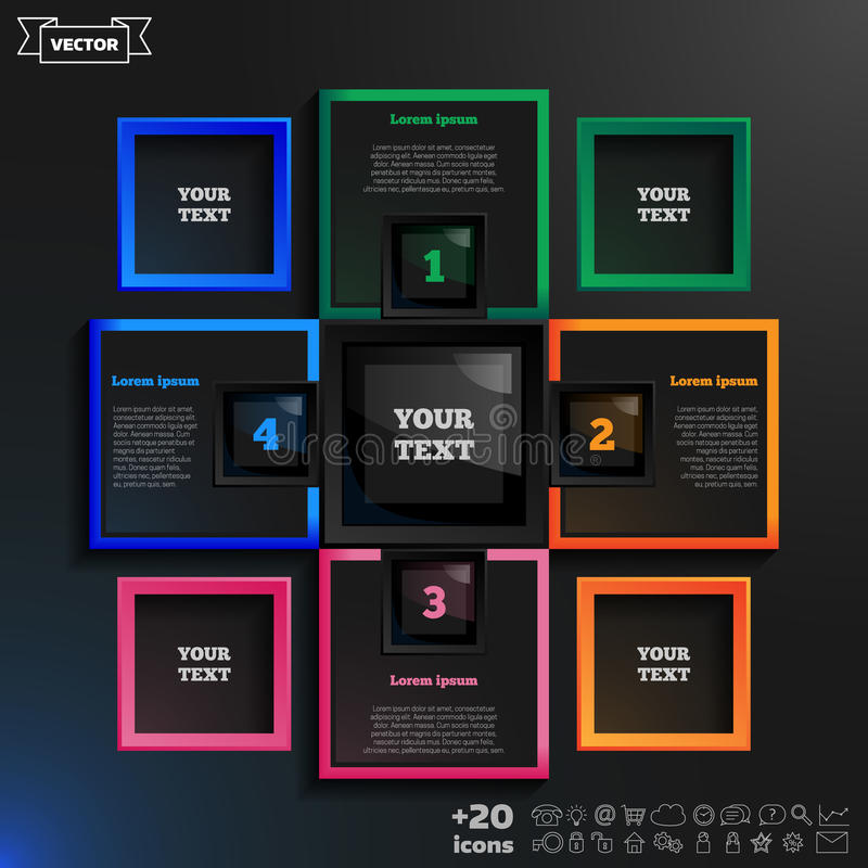Vector infographic design with colorful squares on the black background. stock illustration