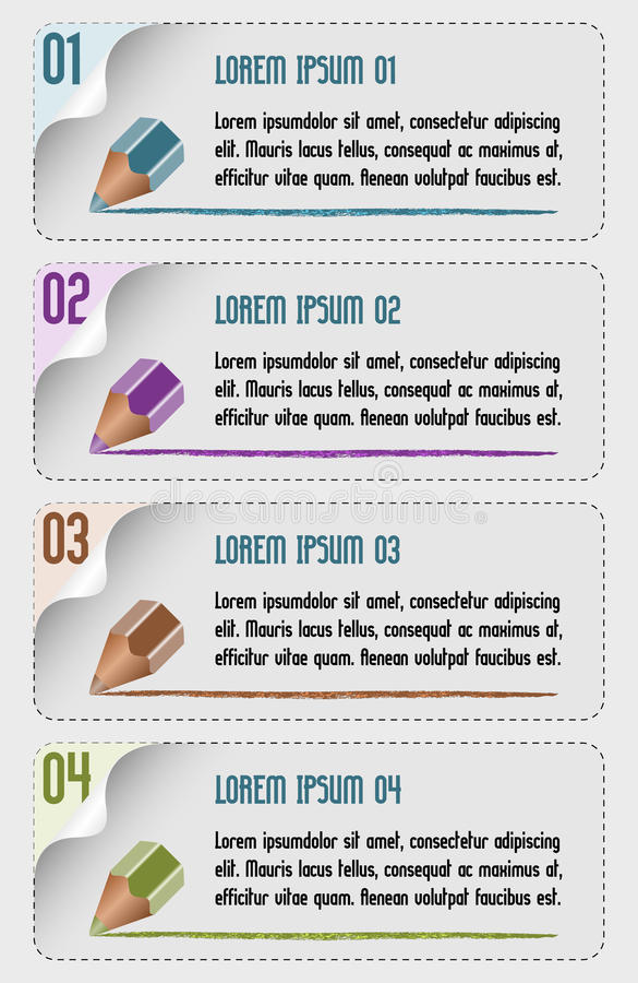 Vector infographic design with drawing pencil royalty free illustration