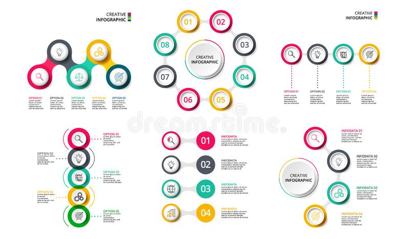 Business concept with 4, 5 and 8 options, parts, steps or processes. Can be used for workflow layout, diagram. Vector infographic design template. Business vector illustration