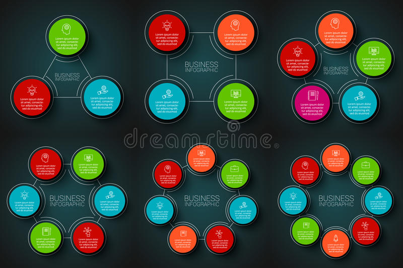 Vector infographic design template. Business concept with 3, 4, 5, 6, 7 and 8 options, parts, steps or processes. Can be used for workflow layout, diagrams and vector illustration
