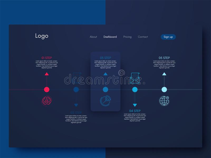 Vector Infographic design template with five option. Infographic design template with numbers five option royalty free illustration