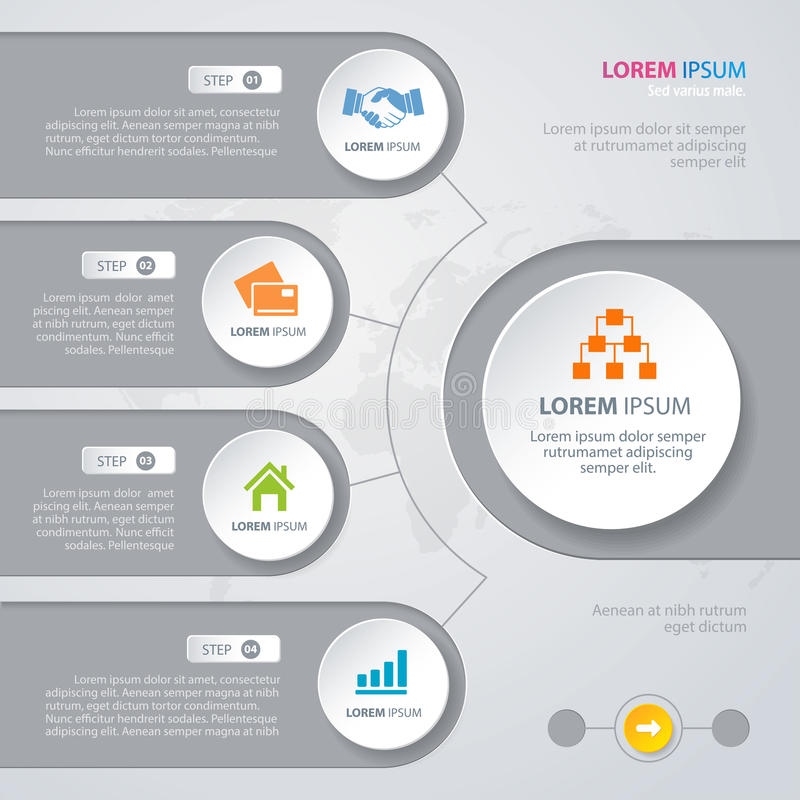 Vector Infographic design white circles stock illustration