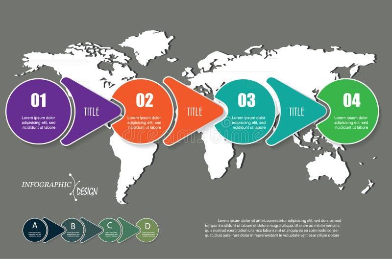 Vector infographic elementen met 4 opties en wereldkaart stock illustratie