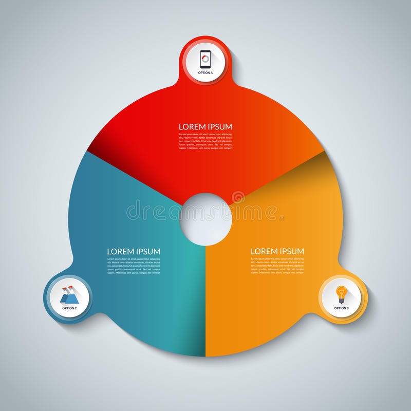 Vector infographic elements. Circle business template with 3 options stock illustration