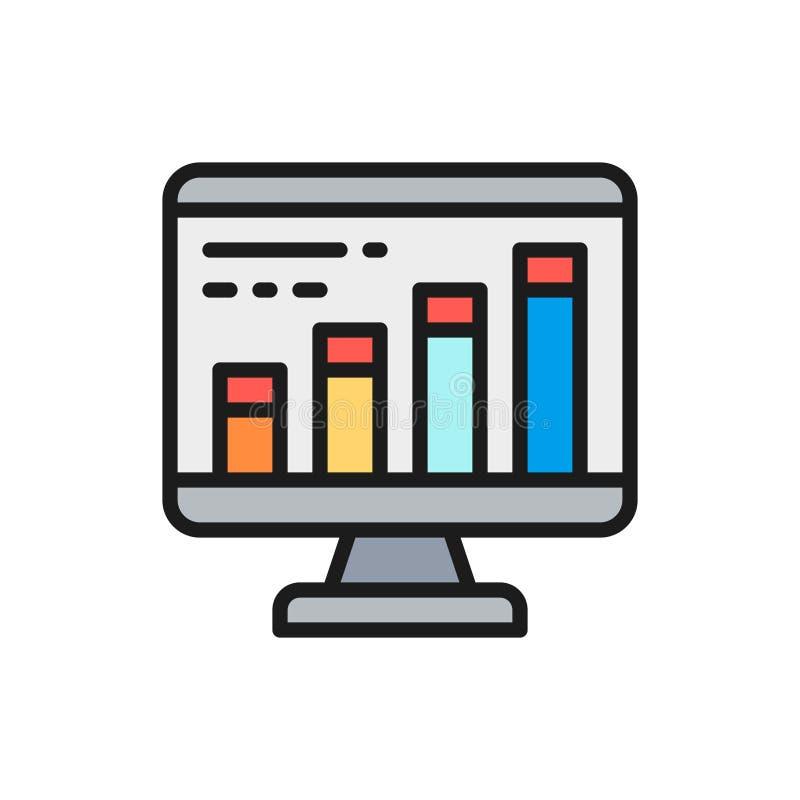 Vector infographic en el navegador del ordenador, programando, línea de color plana del seo icono stock de ilustración
