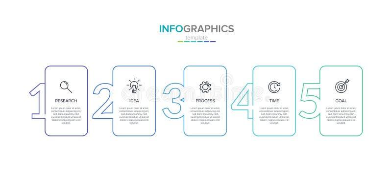 Vector infographic etiketmalplaatje met pictogrammen 5 opties of stappen Infographics voor bedrijfsconcept kan worden gebruikt vo royalty-vrije illustratie