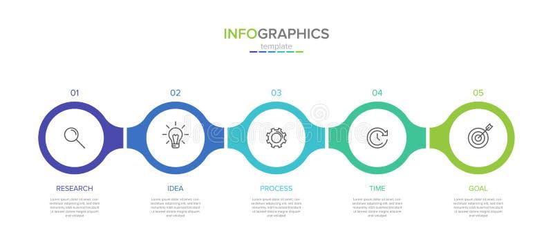 Vector infographic etiketmalplaatje met pictogrammen 5 opties of stappen Infographics voor bedrijfsconcept kan worden gebruikt vo stock illustratie