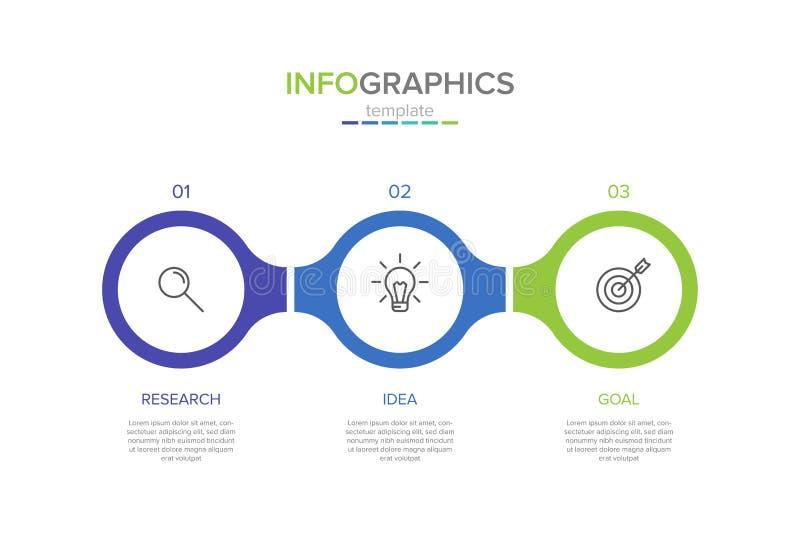 Vector infographic etiketmalplaatje met pictogrammen 3 opties of stappen Infographics voor bedrijfsconcept kan worden gebruikt vo stock illustratie