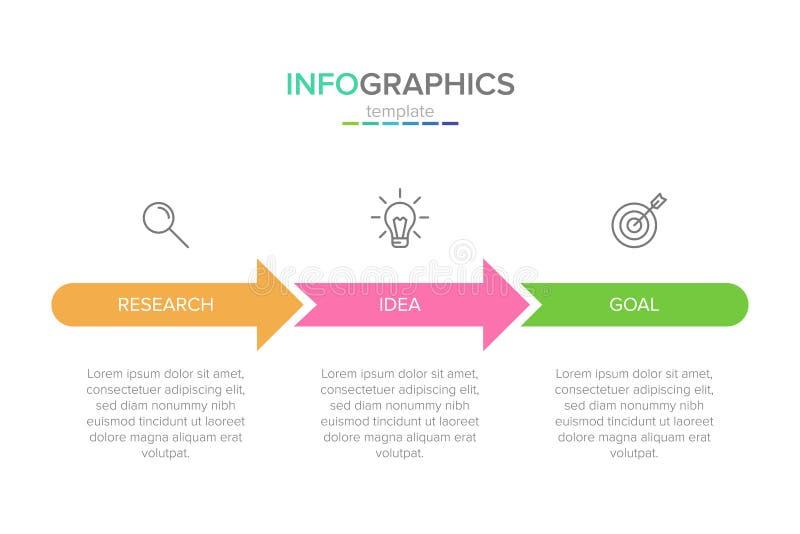 Vector infographic etiketmalplaatje met pictogrammen 3 opties of stappen Infographics voor bedrijfsconcept kan worden gebruikt vo royalty-vrije illustratie