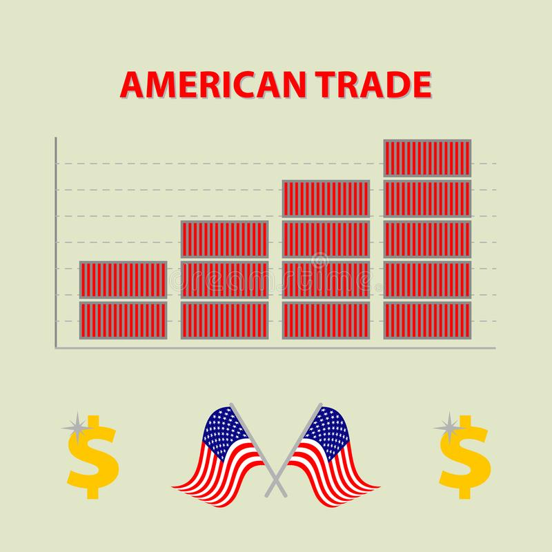 Vector infographic growing american import export - info graph in flat design with icon of dolar and flags united states o royalty free illustration