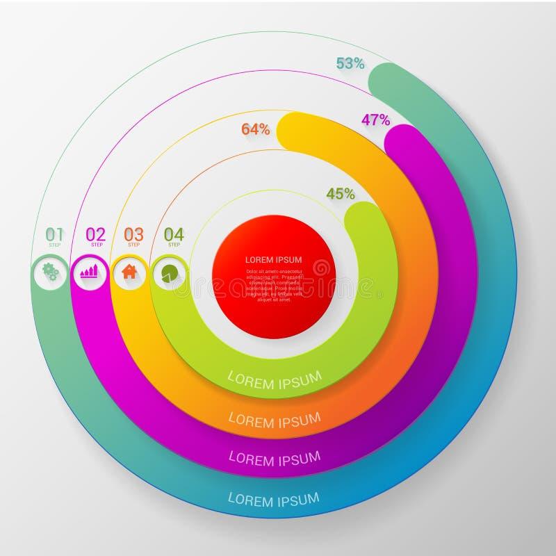 Vector infographic het malplaatjeachtergrond van de cirkelgrafiekgrafiek vector illustratie