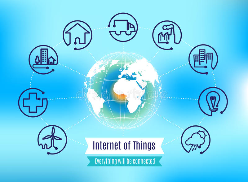 Vector : Infographic about Internet of Things with globe on blue royalty free illustration