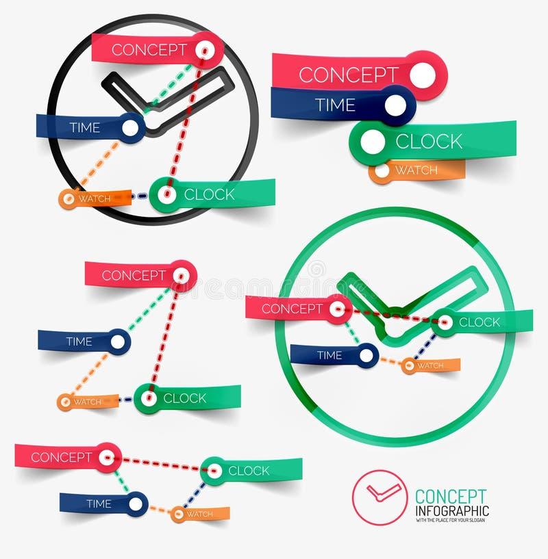Vector infographic klok en sleutelwoorden stock illustratie