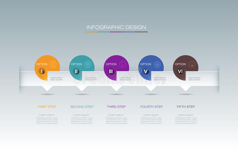 Vector Infographic label design with icons and 5 options or step vector illustration