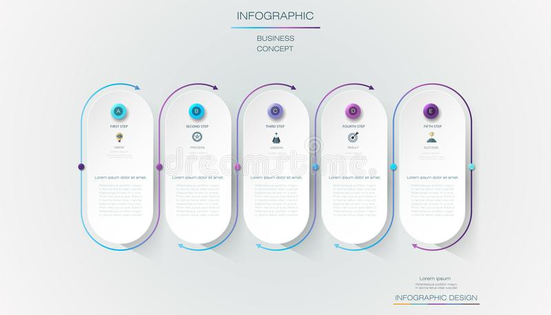 Vector Infographic label design with icons and 5 options or steps. Infographics for business concept. Can be used for presentations banner, workflow layout royalty free illustration
