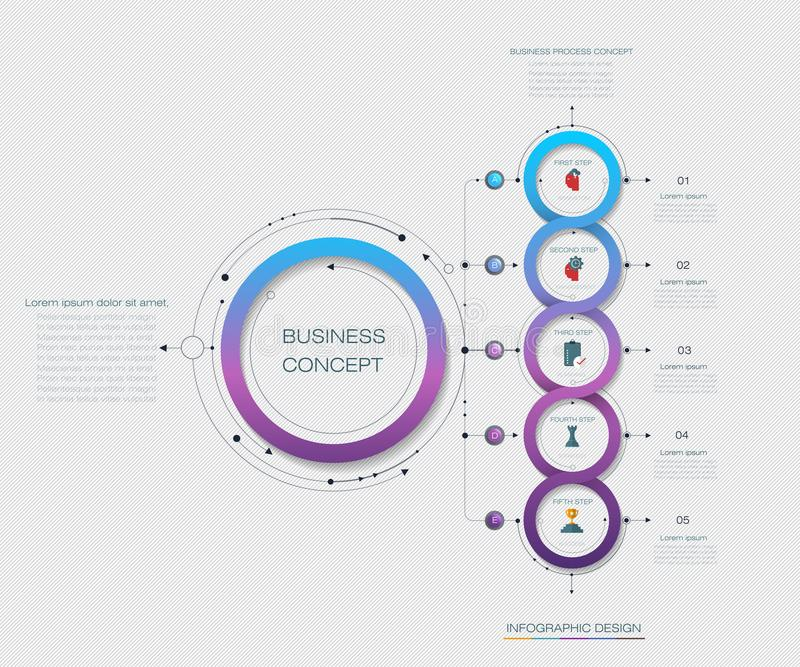 Vector Infographic label design with 5 options or steps vector illustration