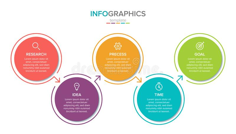 Vector infographic label template with icons. 5 options or steps. Infographics for business concept. Can be used for. Info graphics, flow charts, presentations royalty free illustration