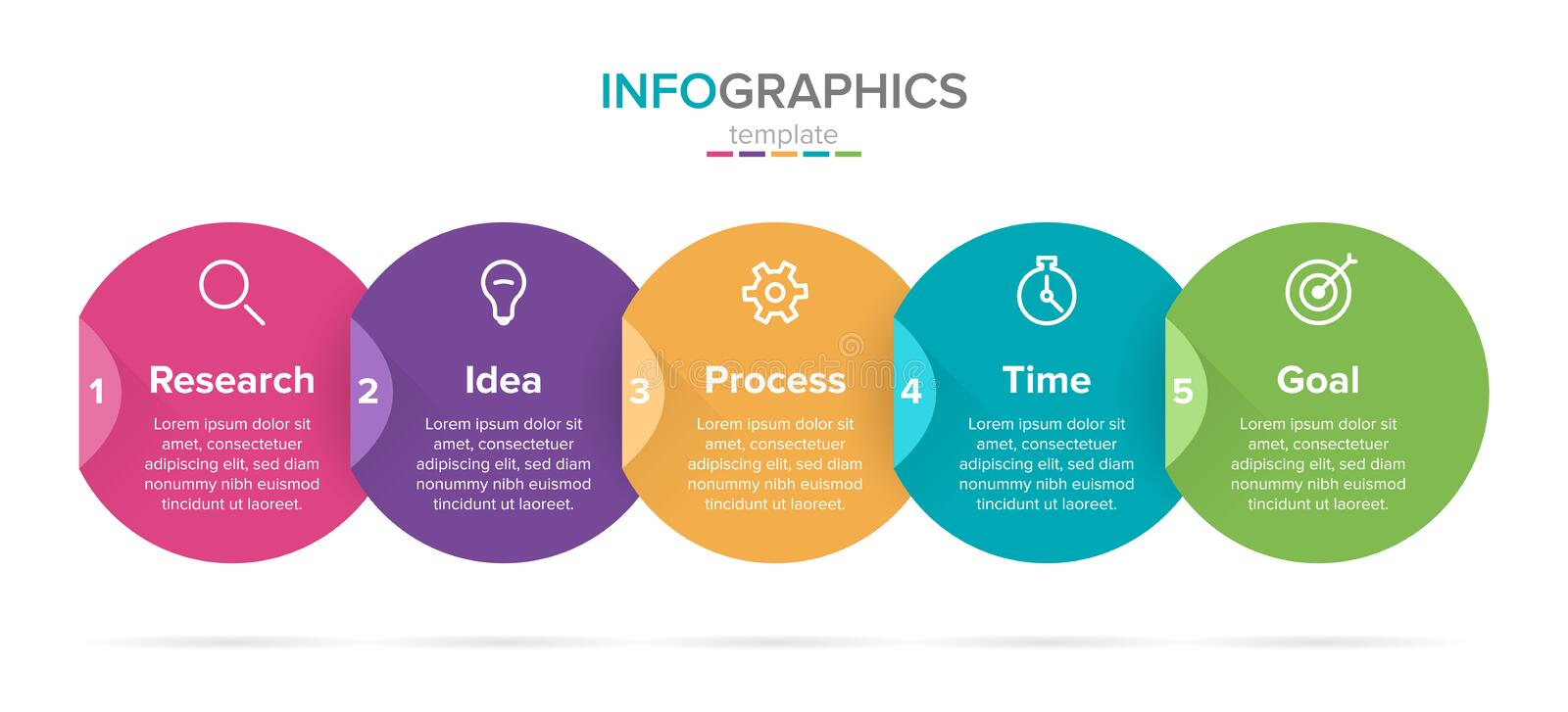 Vector infographic label template with icons. 5 options or steps. Infographics for business concept. Can be used for. Info graphics, flow charts, presentations stock illustration