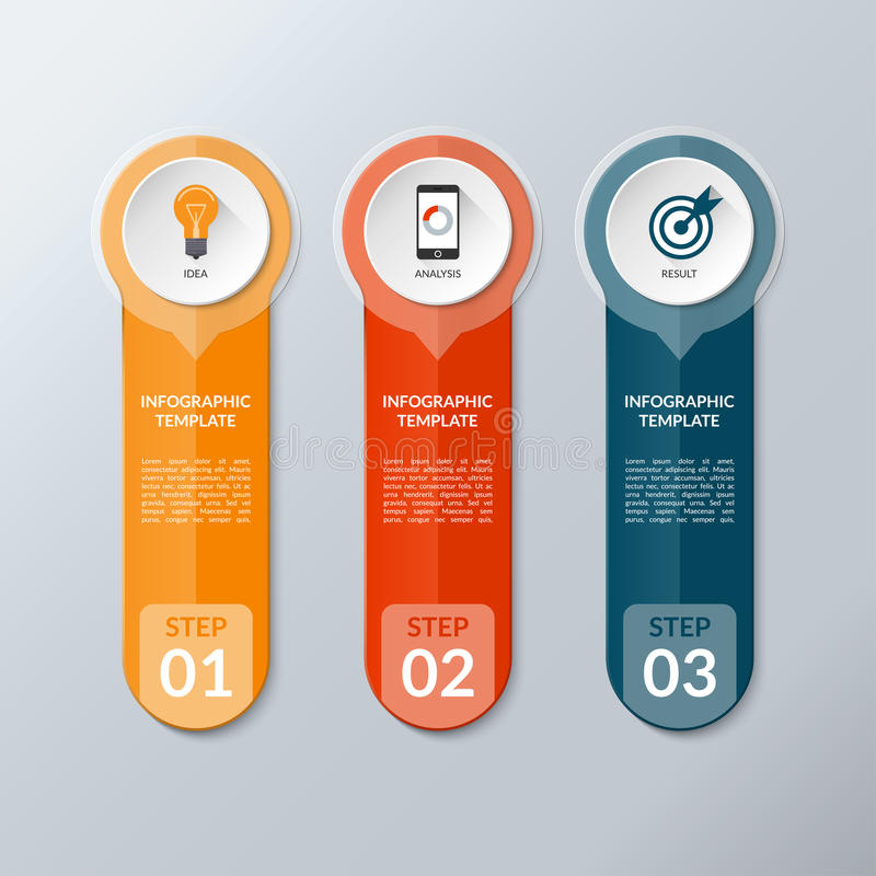 Vector infographic layout template with 3 buttons, steps, parts, options. Vertical banner with business icons and transparent design elements. Can be used for royalty free illustration