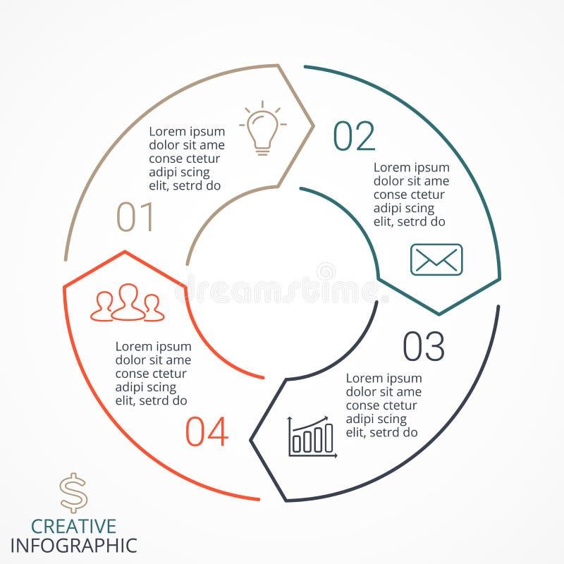 Vector infographic linear de las flechas del círculo, diagrama, gráfico, presentación, carta Concepto del ciclo de negocio con 4  ilustración del vector