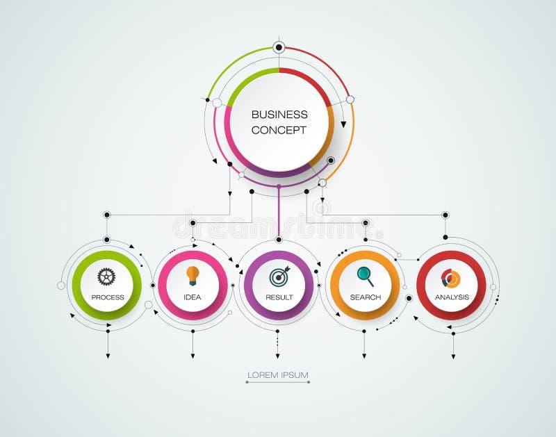 Vector infographic malplaatje Bedrijfsconcept met opties stock illustratie