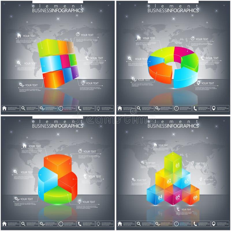 Vector infographic malplaatje Bedrijfsconcept met 4 - 9 opties Modern 3D ontwerp royalty-vrije illustratie
